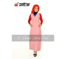 Baju Overall Zetha Denim Warna Dusty Pink